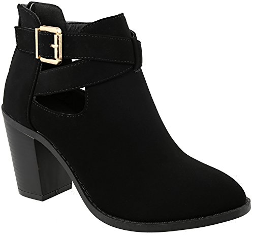 MVE Shoes Women`s Chunky Heel Ankle Bootie - Fashion Strappy Back Zipper, erika-26 Black 5.5