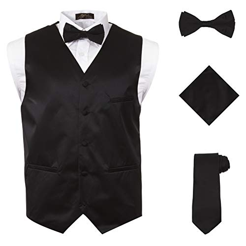 Mens Tux Vest - Vittorino's 4 Piece Formal Tuxedo Vest Set Combo with Tie Bow Tie and Handkerchief,Black,Large