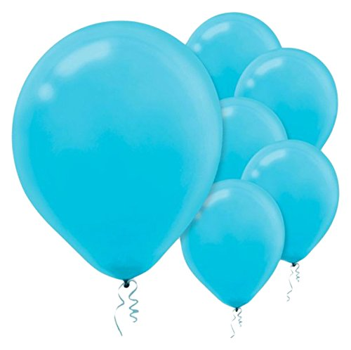 Solid Color Latex Balloons - Carribbean Blue, Pack of 72, Party Decor -