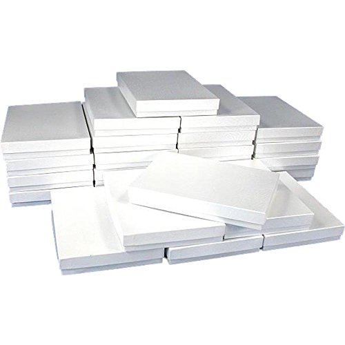 White Swirl Cotton Filled Jewelry Box #75 (Pack of 10) ()