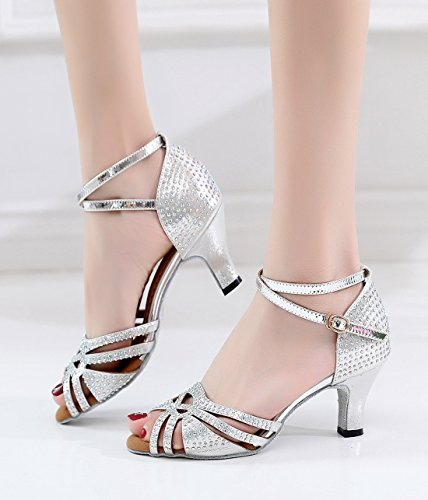 Strap Heel 6cm Ankle Grey Minishion Heel Stylish Sandals Dance Crystals Women's Low Shoes Wedding Latin qwxtAfBt