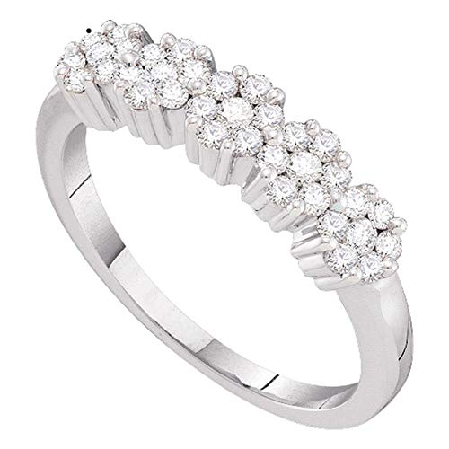 Jewel Tie - Size 8 - Solid 14k White Gold Round Diamond Five Flower Cluster Ring (1/4 Cttw.) ()