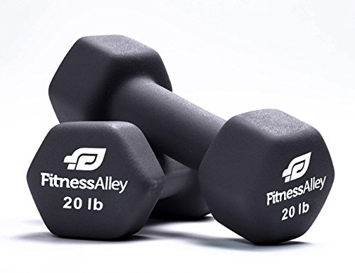 Fitness Alley Neoprene Dumbbell Pair Free Weights - Hex Hand Weights - Gym Exercise 3 Pairs Set 15lb,17.5lb & 20lbs