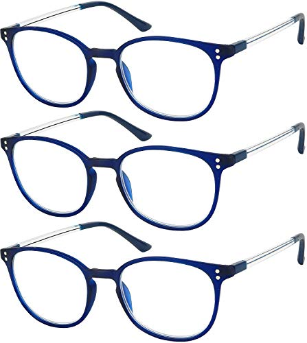 (Reading Glasses 3 Pair Stylish Navy Readers Fashion Glasses for Reading Men & Women)