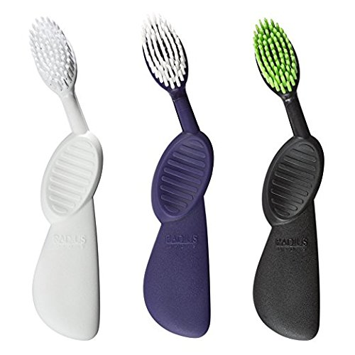 RADIUS - Scuba Toothbrush, Soft Bristles, Flex-Neck Technology that Reduces Pressure on Teeth and Gums, Made with Sustainable Materials, Colors May Vary (Left Hand, Pack of 3)