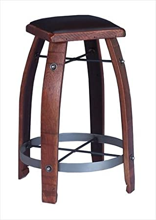 2 Day Designs 818c30 30 Inch Wine Barrel Stave Stool With Chocolate Leather Seat Furniture Decor