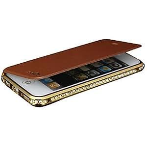 MOFY- Shengo ª diamantes de lujo de parachoques del metal con el caso de cuero del tir-n para el iphone 4 / 4s (colores surtidos) , Champa-a