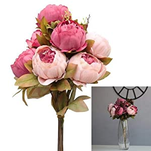 myonly Artificial Vintage Artificial Peony Silk Flowers Bouquet for Wedding Background Wall Plant Wall Decoration Flower 49