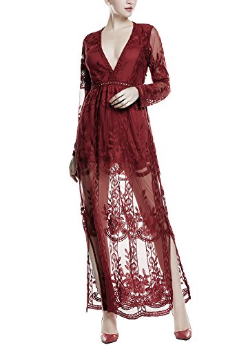 (Wicky LS Women's Sexy Short Sleeve Long Dress Low V-Neck Lace Romper (M, Wine Red-Long Sleeve) )