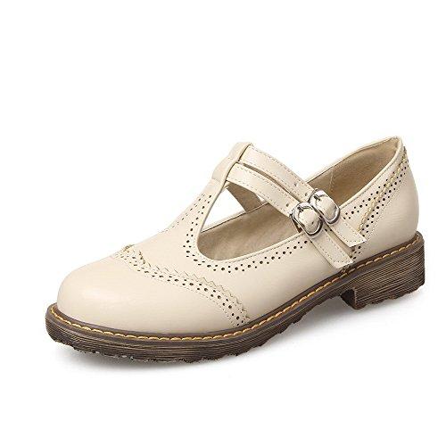 VogueZone009 Women's PU Solid Buckle Round Closed Toe Low-Heels Pumps-Shoes Beige G33PzEp