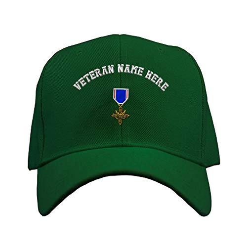 Custom Baseball Hat Distinguished Service Cross Embroidery Veteran Acrylic Structured Cap Hook & Loop - Forest Green, Personalized Text Here