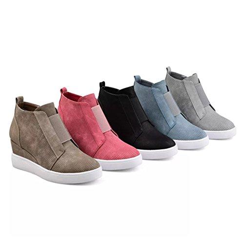 Huiyuzhi Platform Fashion green Sneakers High Zipper Toe Top Womens 1 Shoes Closed Strap with Wedges 41zrn4Hq