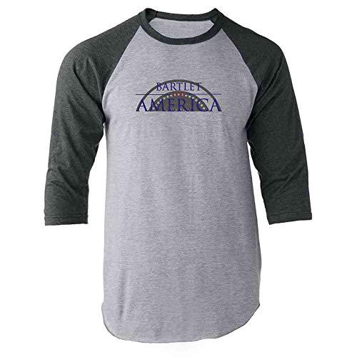 (Pop Threads Jed Bartlet for America Presidential Campaign Gray M Raglan Baseball Tee Shirt)