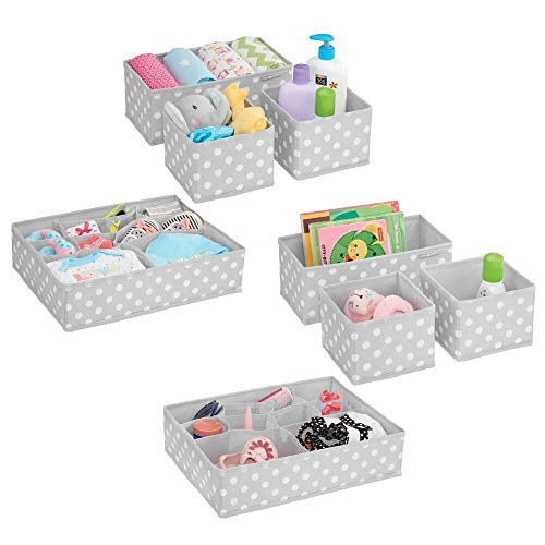 Polka Dot Storage - mDesign Soft Fabric Dresser Drawer and Closet Storage Organizer Set for Child/Kids Room, Nursery - Includes Large and Small Organizers - Polka Dot Pattern, Set of 8 - Light Gray/White