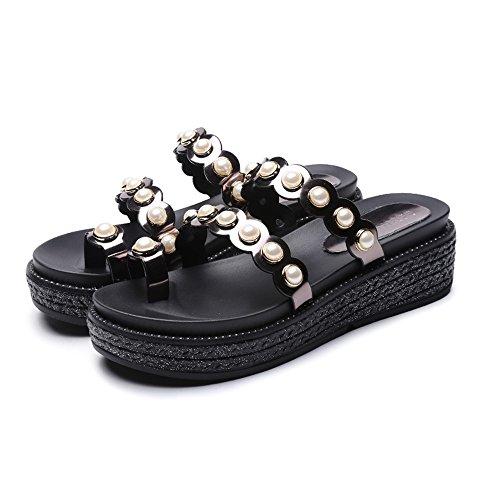 Color Blanco UK5 Mirror CN38 de Students Pearl Tamaño Slipper de Sandals CAICOLOR Playa 5 Female EU38 Negro Korean Bohemia Summer Empty Zapatos Zw5q6UA5