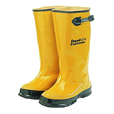 "Galeton 7900-7 Repel Footwear Over-The-Shoe Rubber Slush Boots, Cotton Lined, 15.5"" high, Men's Size 7, Yellow: Industrial & Scientific"