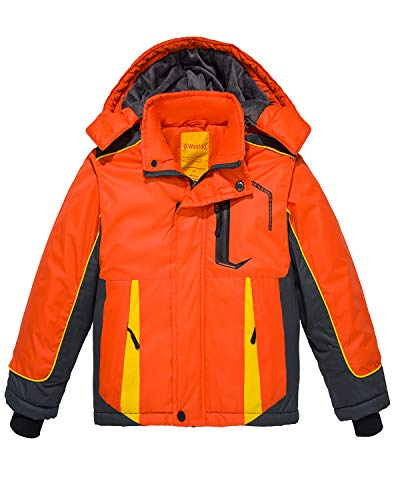 Wantdo Boy's Waterproof Ski Jacket Windbreaker Fleece Winter Coat Orange 4/5 ()