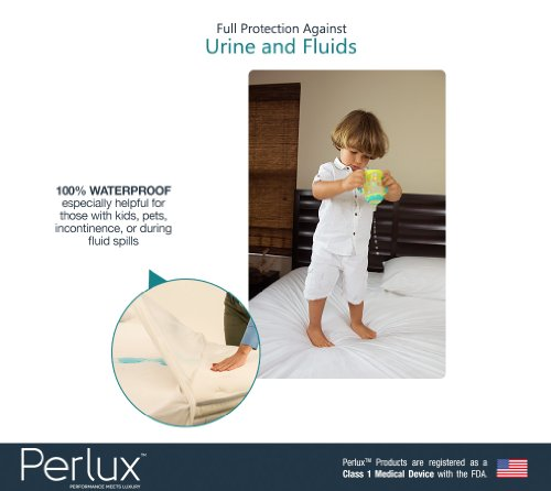 Queen Size Perlux Hypoallergenic Tencel 100% Waterproof Pillow Encasement - Vinyl, PVC, Phthalate and Pesticide Free - Includes Set of Two by Perlux (Image #4)