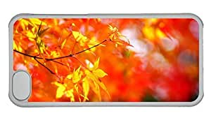 Hipster case mate iPhone 5C covers autumn maple tree foliage PC Transparent for Apple iPhone 5C