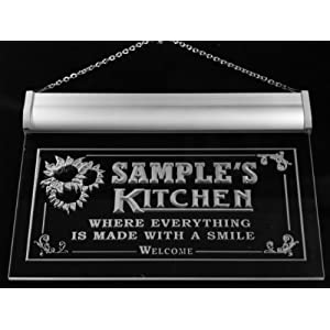 ps511-r Ronda's Personalized Welcome Kitchen Bar Wine Neon Light Sign