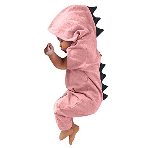 FEITONG Newborn Infant Baby Boy Girl Dinosaur Dorsal Fin Onesies Hooded Romper Jumpsuit(6-12M,Pink)]()