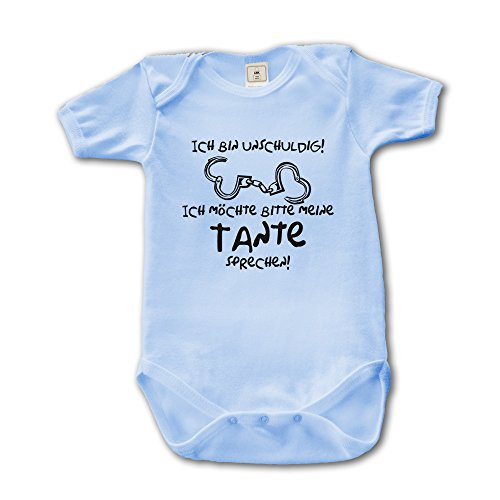 Ich bin unschuldig - Ich möchte bitte meine Tante sprechen! Baby Body Suit Strampler (250.0146) (50-56, babyblue)