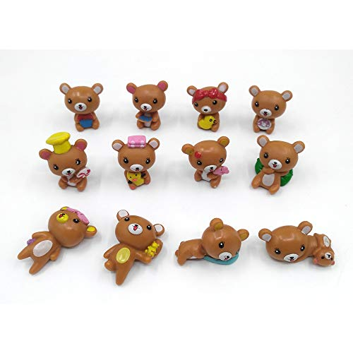 EMiEN 12PCS Bears Miniature Ornament for DIY Dollhouse Decoration Fairy Garden Plant Décor, Nice Decoration Accessories for Desk,Cabinet,Kids Room,Party etc. Christmas/Birthday Gift for Children from EMiEN