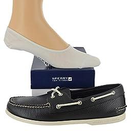 Sperry Men\'s Authentic Original Shoe with FREE No Show Socks Bundle Navy size...