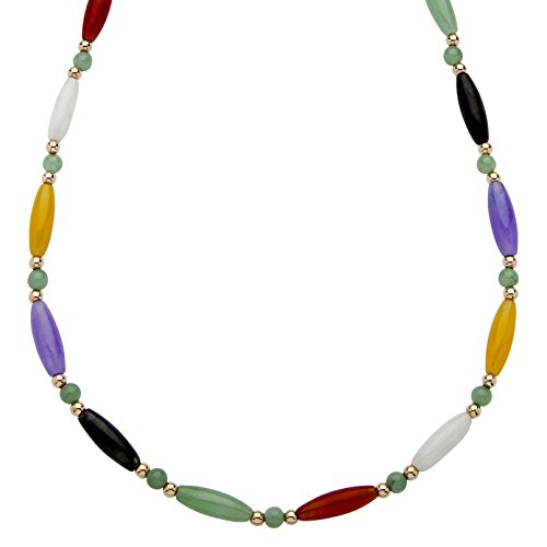 Necklace Jade Multi Color (Multi-Color Genuine Jade 14k Yellow Gold Beaded and Barrel Link Necklace 18