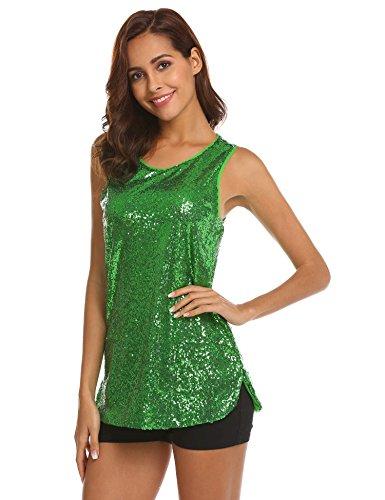 maniche T verde senza brillante da 2 shirt paillettes maniche Bridene donna RPaqUXX