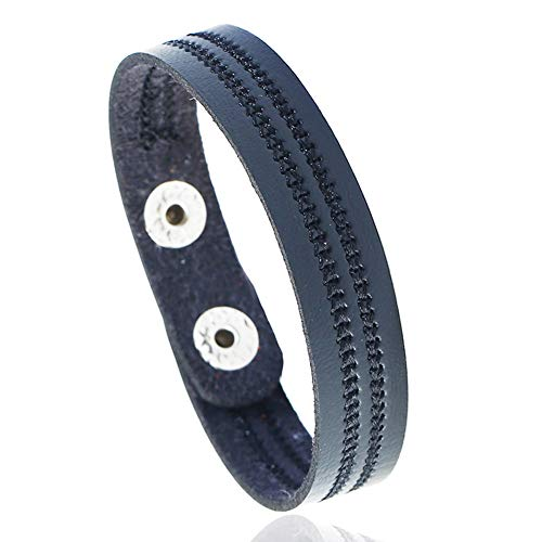 Yaoyodd19 Vintage Men Women Embroidery Faux Leather Bracelet Wrist Bangle Jewelry Gifts - BlackBracelet for Women and Men