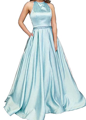 Back Waist BessDress Halter A Party Mint Open With Prom Evening BD475 Dresses Line Beads Pockets Gown xIvvqHr