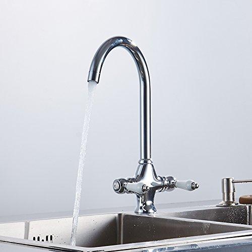 Makej 360 redation Double Handle Wish Ceramics Silver Kitchen Faucet Kitchen Sink Mixer Tap Crane Torneira Cozinha Water Tap