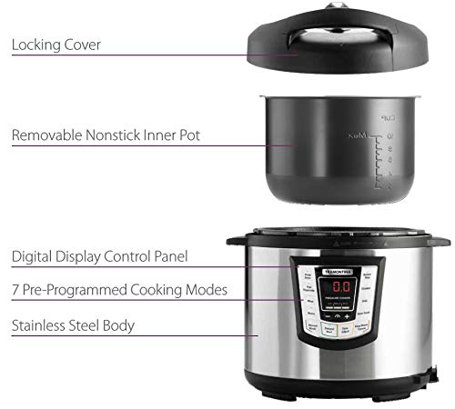 Tramontina 80130/505DS Multi-Use Electric Programmable Nonstick Inner Pot Pressure Cooker, Soup/Stew, Fish/Vegetable, Meat, Beans, Brown Rice, Chicken, Chili Cooker, 6.3-Quart by Tramontina (Image #3)