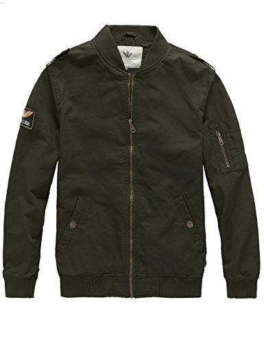 WenVen Men's Lighweight Aviator Cotton Jackets (Army Green, XL) by WenVen