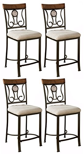 Sierra Sleep by Ashley Ashley Furniture Signature Design - Hopstand Barstool Set - Counter Height - Traditional - Set of 4 - Brown