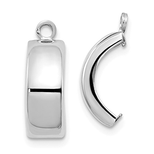 14K White Gold Polished Earring Jackets - (0.47 in x 0.2 in)