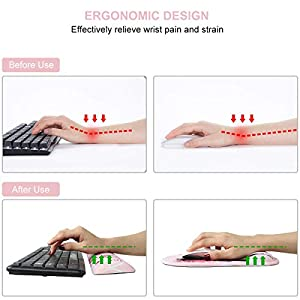 Anyshock Keyboard Wrist Rest and Ergonomic Mouse Pads with Wrist Support, Non Slip Rubber Base Wrist Support Comfortable Raised Memory Foam for Easy Typing and Relieve Wrist Pain, Fairy Starry Sky