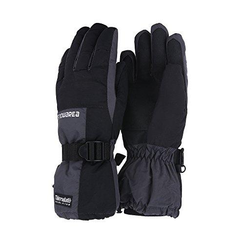 Unistrengh Mens Ski Snowboard Gloves Windproof Waterproof Warmest Mittens for Skiing Snowboarding, Grey