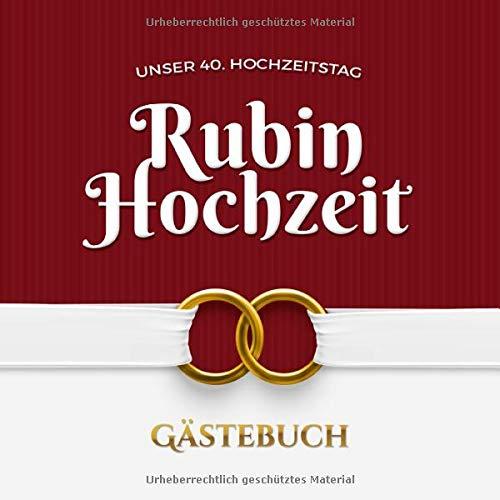 Rubinhochzeit Gastebuch Zum 40 Hochzeitstag Vintage Dekoration