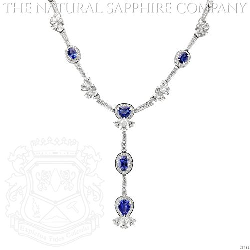 18k White Gold Necklace with 23.30ctw Oval and Pear Shaped Sapphires and 23.10ctw Diamonds (18k Gold Pear Shaped Sapphire)
