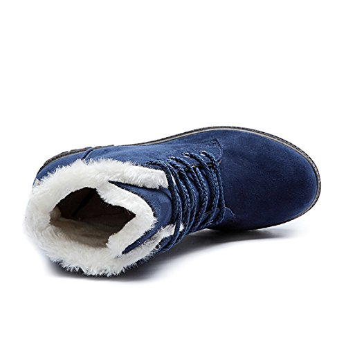 Lined Mostrin Fur Boots Warm Flat Up Winter Boots Suede Waterproof Snow Short Lace Blue Women's awXqzx8ra