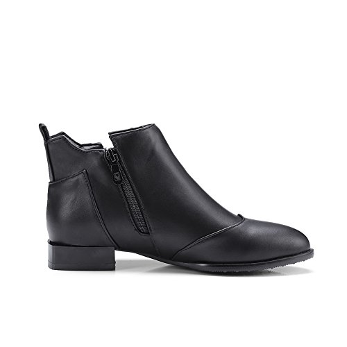 Warm A amp;N AN Boots Heeled Toe Bootie Waterproof DKU01864 Smooth Zip Leather Road Black Pointed Boots Closed Toe Womens Urethane Lining q8SSwAx