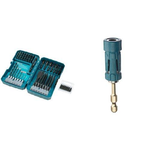 Makita T-01725 Impact Drill-Driver Bit Set, Black Oxide, 70-Piece w/ Makita B-35097 Impact Gold Ultra-Magnetic Torsion Insert Bit Holder
