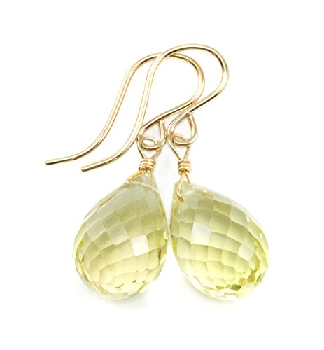 14k Yellow Gold Lemon Yellow Quartz Earrings Faceted Rounded Briolette Teardrops Dangle (Lemon Quartz Earrings)