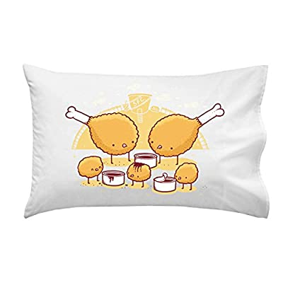 """Chicken Farm"" Funny Fried Chicken Legs & Nuggets w/ Dipping Sauce - Pillow Case Single Pillowcase"