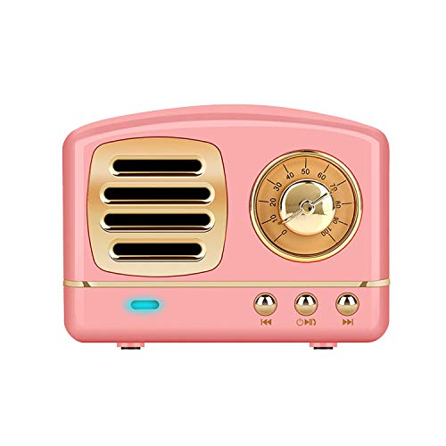(Dosmix Wireless Stereo Retro Speaker, Portable Bluetooth Vintage Speaker with Built-in Mic,USB, SD Card Slot, AUX for Kitchen,Bedrooms,Desk,Shelf,Party,Travel,Outdoor, Android,iOS,Pink)