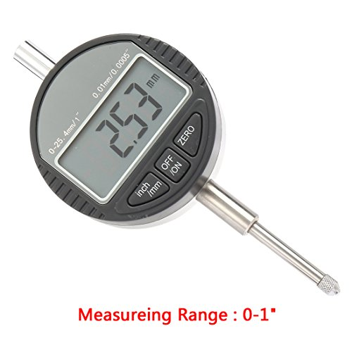 uxcell Electronic Digital Indicator Gage Gauge Inch/Metric Conversion 0-1 Inch/25.4 mm with Back Lug (Digital Dial Indicator)