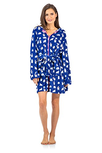 Closure Women Zipper - Ashford & Brooks Women's Plush Coral Fleece Zip Up Hooded Robe - Navy White - Small