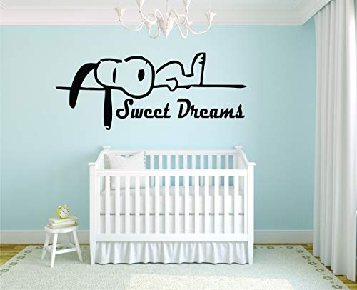 Stickers Kids Character - SNOOPY WALL DECALS GOOD NIGHT SLEEP BED TIME Decal Charlie Brown Cartoon Character Vinyl Art Stickers for toddler, baby, kids rooms bedrooms decor decoration for nursery Size10x30 inch